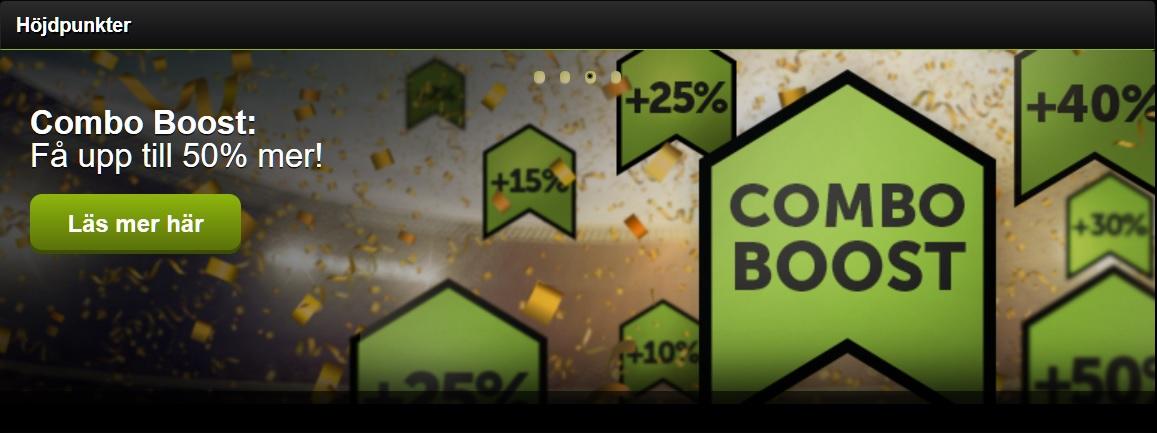 Vinn 50% extra med ComeOn Combo Boost